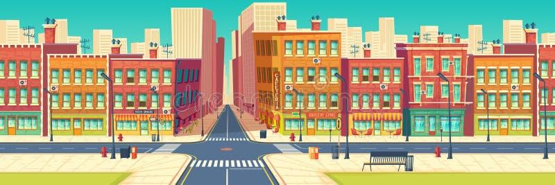 Old quarter street in modern metropolis vector. Old quarter street, city historical center district in modern metropolis cartoon vector. Roads crossing and stock illustration