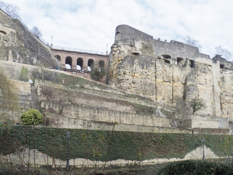 Old Quarters and Fortifications in Luxembourg stock photography