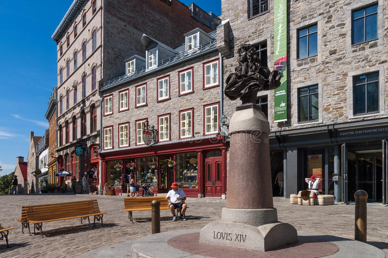 Old Quebec City, Canada. Statue of Louis XIV in Old Quebec City, Canada stock photography