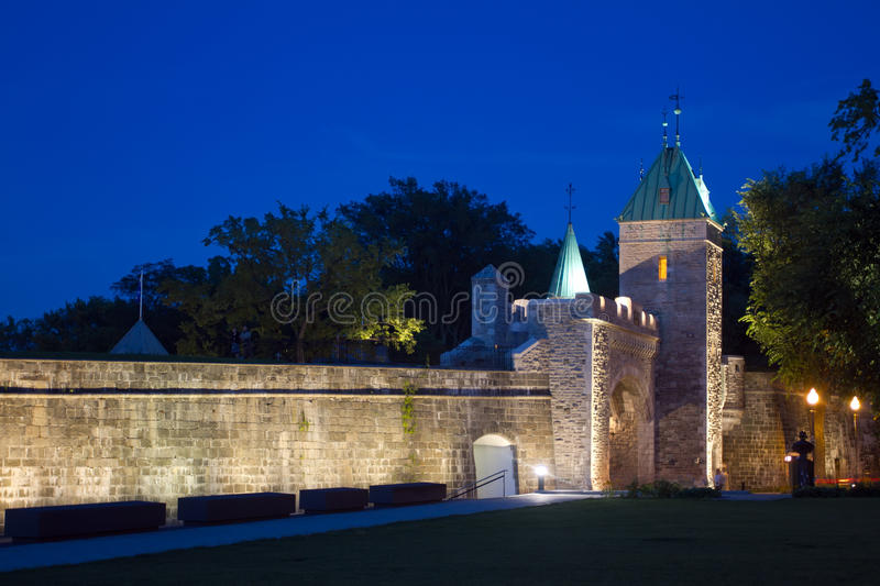 Old Quebec City Gates, Canada. Photo is taken at night with long exposure royalty free stock photography