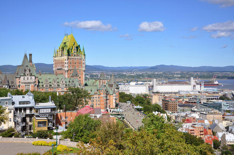 Quebec City skyline, Quebec, Canada. Old Quebec City skyline and Chateau Frontenac in summer, viewed from La Citadelle, Quebec City, Quebec, Canada royalty free stock image