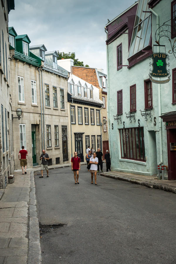 Old Quebec Street Scene. Quebec City, Canada - Sept. 8, 2015: Quebec's Old City is a UNESCO World Heritage Site that retains a European charm and style uncommon stock images