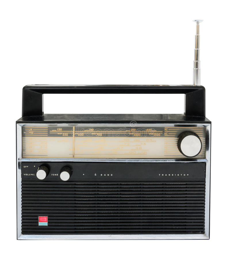 Old radio isolated on a white background with clipping path stock photography