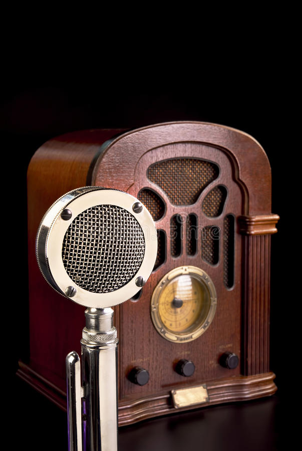 Old Radio and Microphone. royalty free stock photos