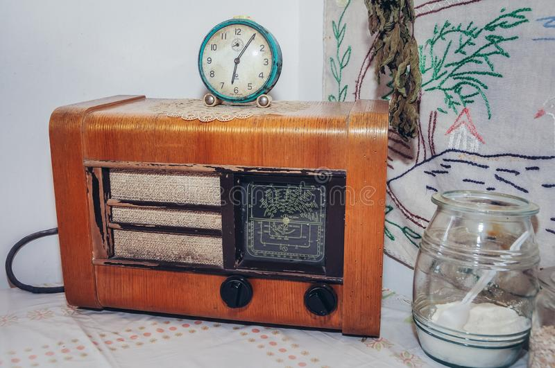 Old radio on a table stock photography