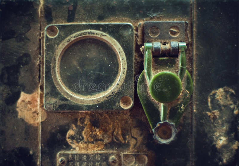 Old radio transmitter. From Vietnamese army, full of dust stock photo