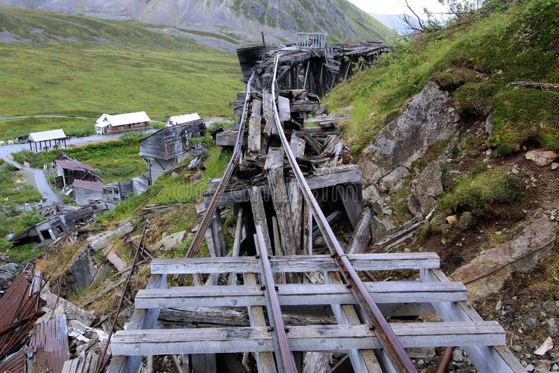 Old rail way for the ore carts on Hatcher Pass. Very location cannot imagine the life out here in the winter months stock images