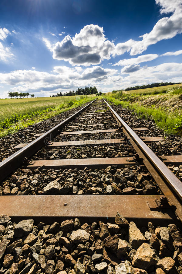 Old Railroad with Blue Sky stock image