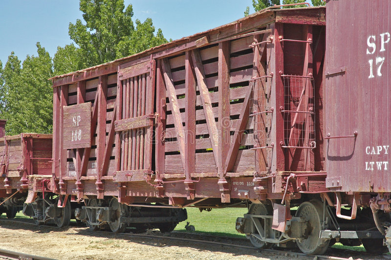 Old railroad boxcar. An old railway boxcar from the wild west era stock images