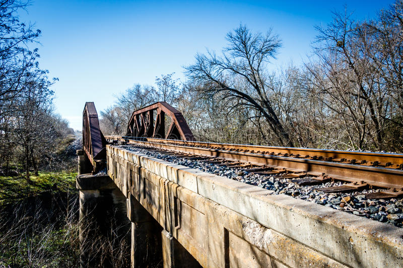 Old Railroad Bridge, Grainger Texas stock photo