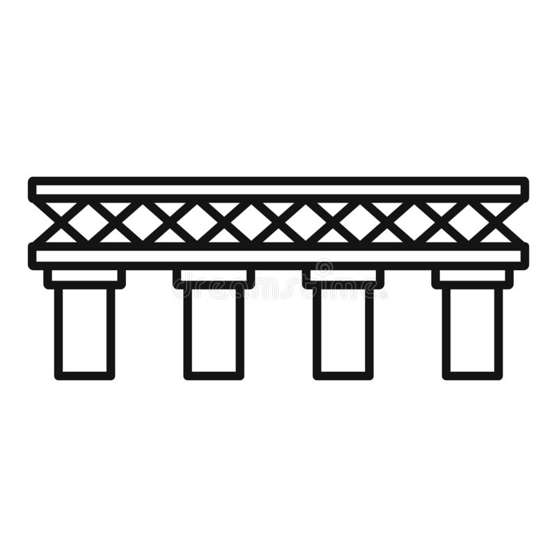 Old railroad bridge icon, outline style royalty free illustration