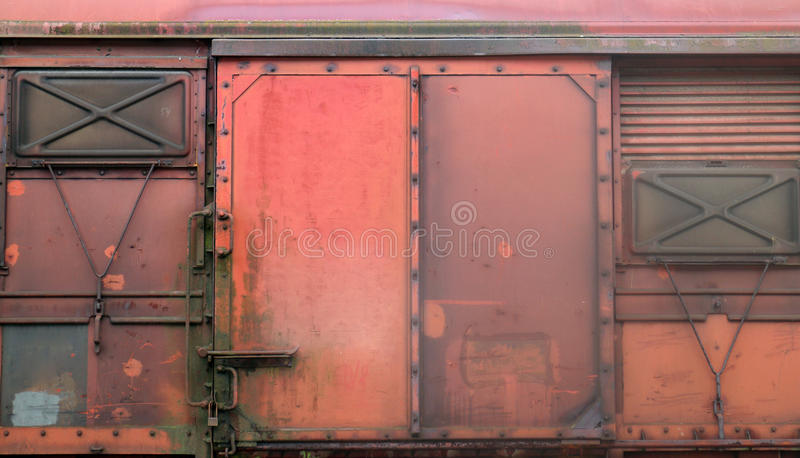 Old railroad car. Close up of exterior of doors on old railroad car stock image