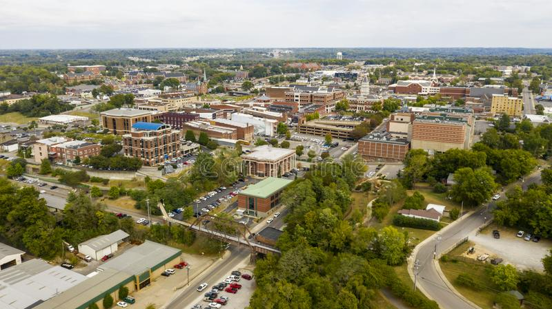 Aerial View over the Buildings and Infrastructure in Clarksville Tennessee. An old railroad trestle has been made into a pedestrian walkway in Clarksville TN royalty free stock images