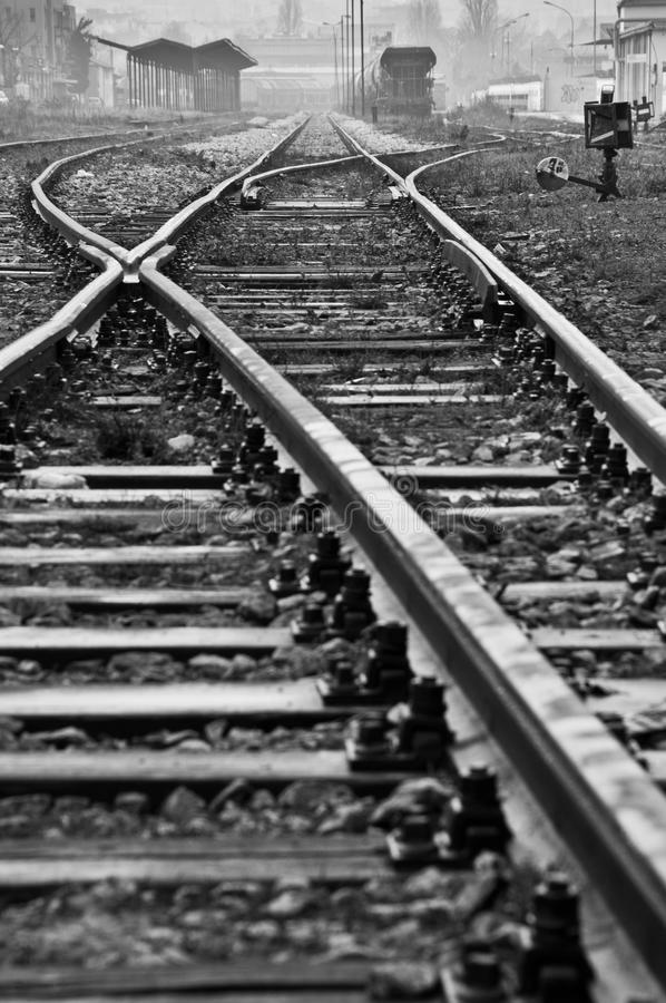 Old railway. Old abandoned railway station in black and white stock photos