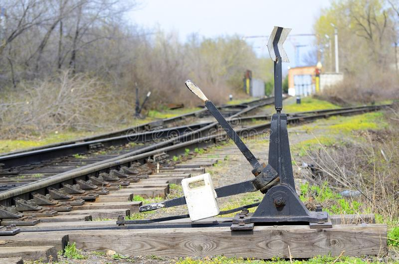 Old railway arrow. Retro. Russia stock images