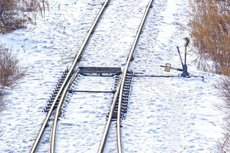 Old railway arrow. Winter royalty free stock photos