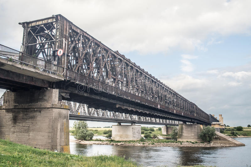 Old railway bridge in Tczew, Poland. Old railway bridge build after 1857 in Tczew, northern Poland. The oldest preserved bridge in this part of Europe stock photography