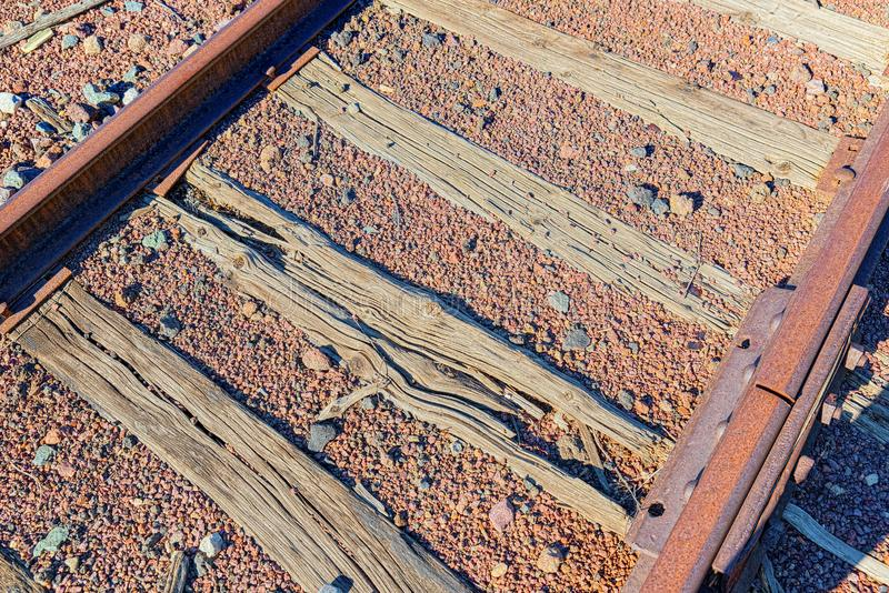 Old railway sleepers and rails in an American town. USA stock images