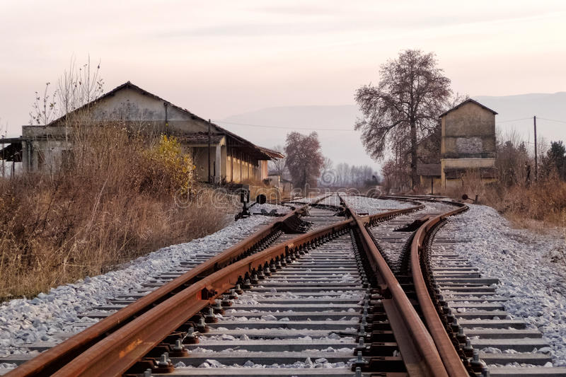 Old railway station and tracks, in Florina, northern Greece. In autumn stock images