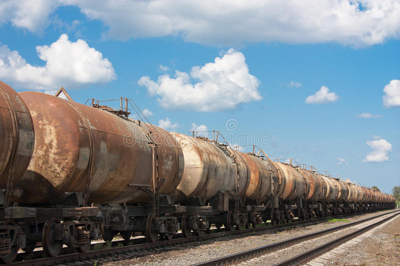 Old railway tanks royalty free stock image