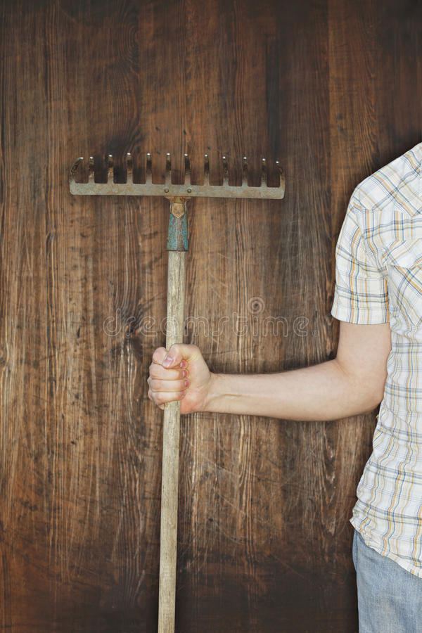 Download Old rake stock image. Image of farmer, hobby, hand, rake - 12208079