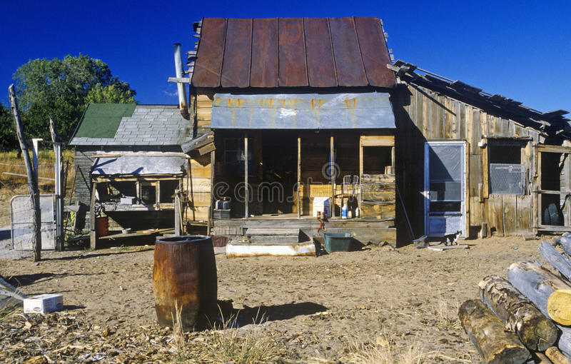 Old ramshackle dwelling. With oil drum in dirt yard stock photo