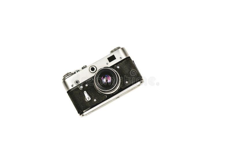 Old rangefinder vintage camera on white background stock photography
