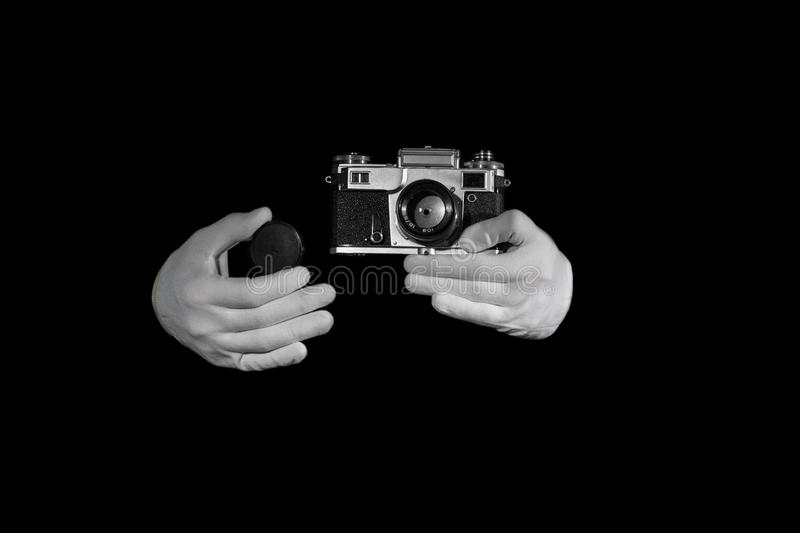 Old rangefinder vintage and retro photo camera with color effect stock images