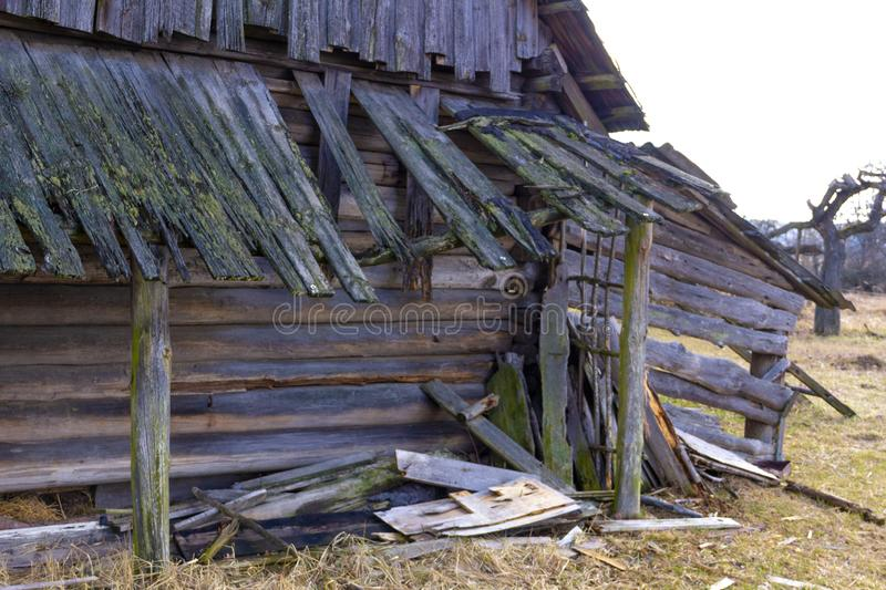 Old rare vintage ruined rustic wooden barn house - landscape. Old rare vintage ruined rustic wooden barn house - abandoned landscape stock images