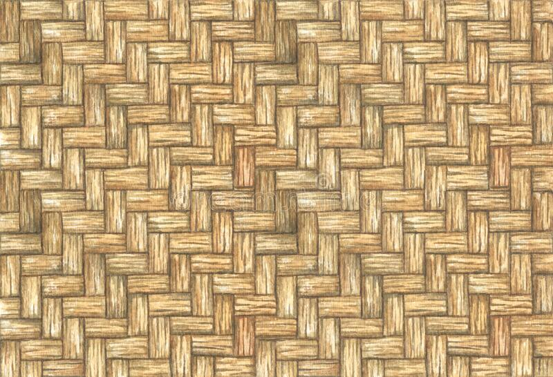 Old rattan weave texture, Watercolor illustration royalty free stock photo