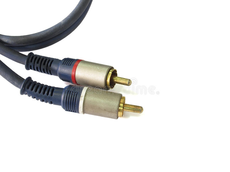 Old RCA connectors with audio cables stock image