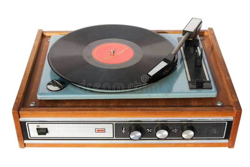 An old record-player. With a scratched gramophone record stock photos
