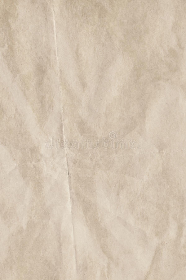 Beige Recycled Manila Kraft Wrapping Paper Coarse Grain Crumpled Grunge Texture stock photo