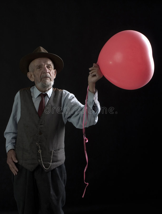 Old red balloon stock photo