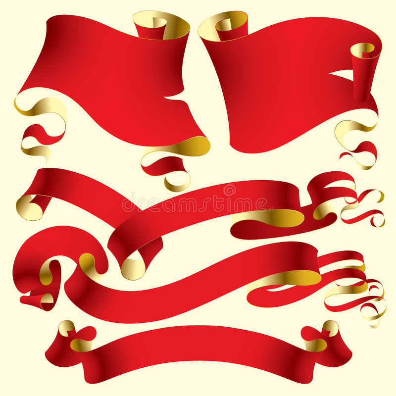 Old red banners stock illustration