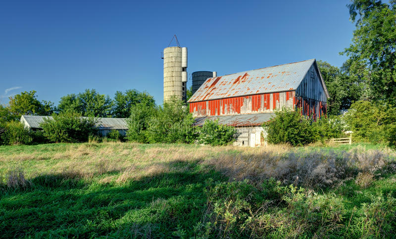 Download Old red barn stock image. Image of vibrant, blue, architectural - 20959995