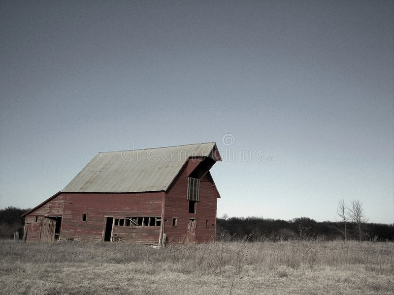 Download Old Red Barn stock image. Image of abandoned, tilting, monochromatic - 582935