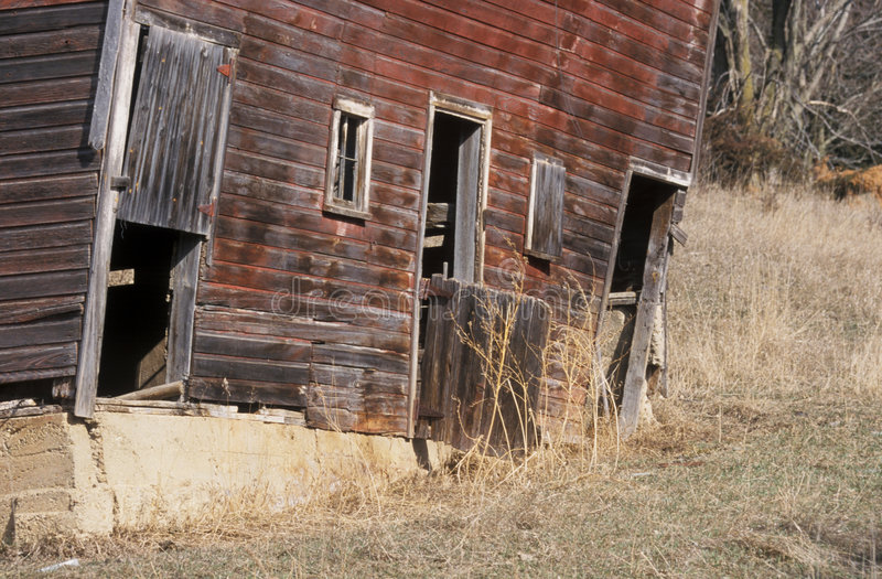 Download Old Red Barn stock image. Image of foundation, down, gate - 6258979