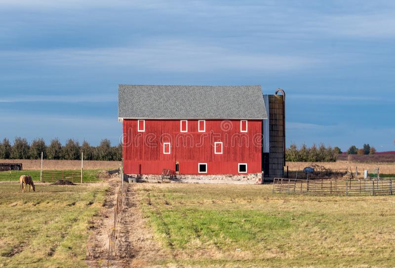 An old red barn with a grazing horse stock image