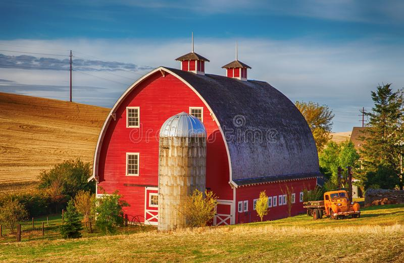 Red Barn in the fall stock images