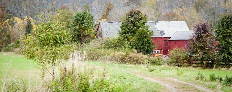 Old Red Barn Panorama stock photos