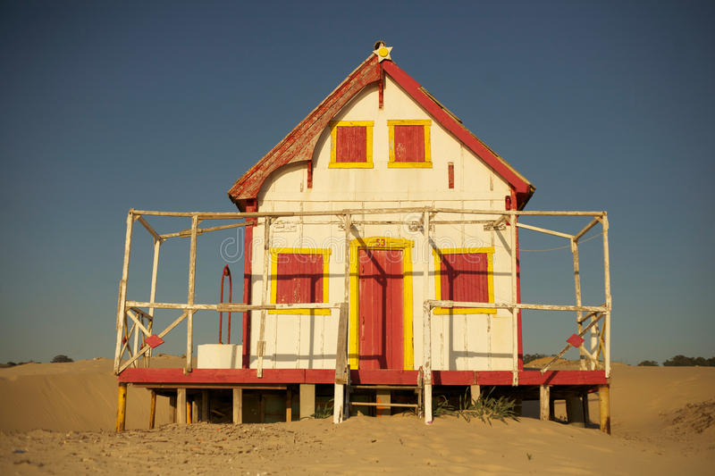 Old red beach house royalty free stock image