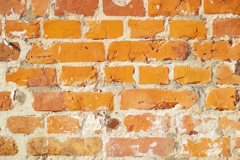 Old red brick clay wall stock images
