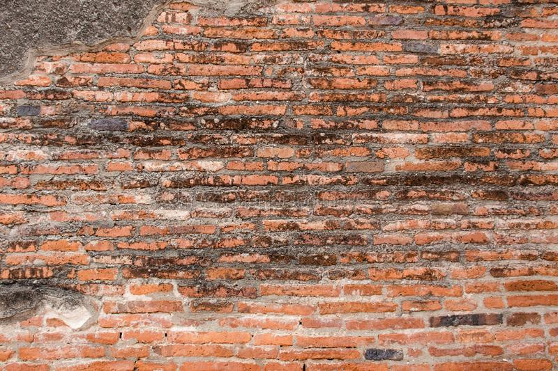 Old red Brick and dry Wall Texture background image. Grunge Red Stonewall Background stock photos