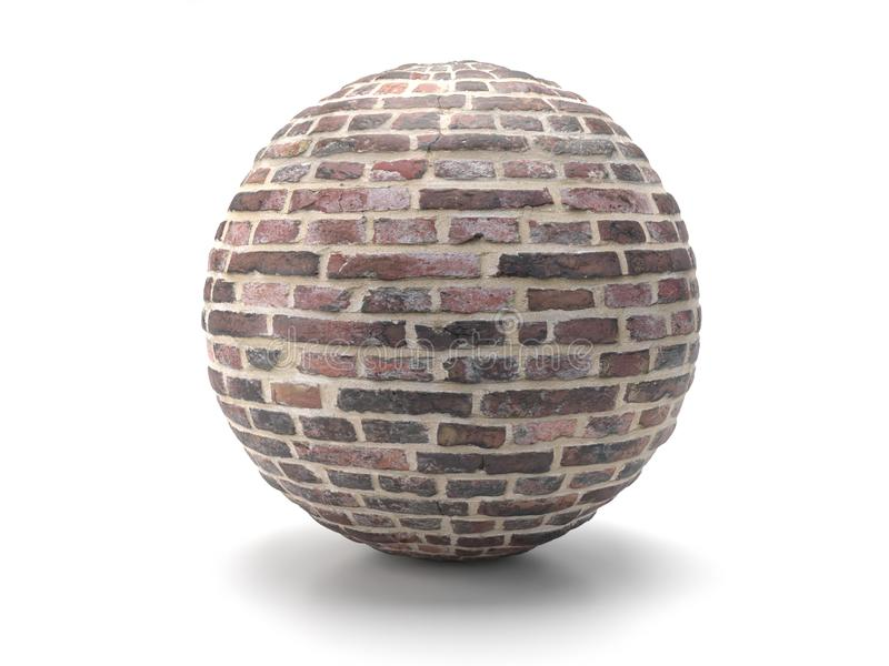 Old red brick sphere stock images