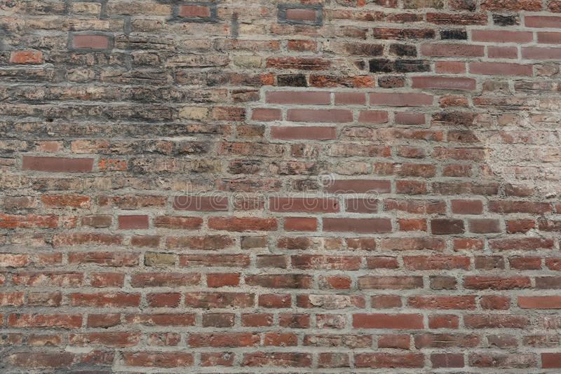 Old Red brick wall as background, wallpaper. Red bricks pattern, texture. Horizontal wide brick wall stock images