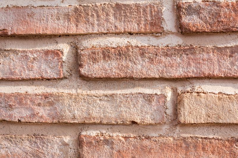 Old red brick wall in spain stock photo