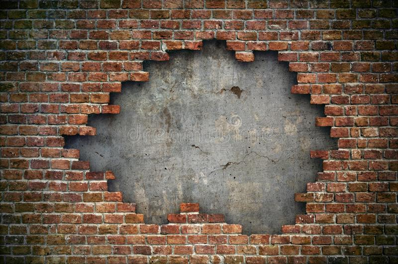 Old red brick wall damaged background texture stock photography