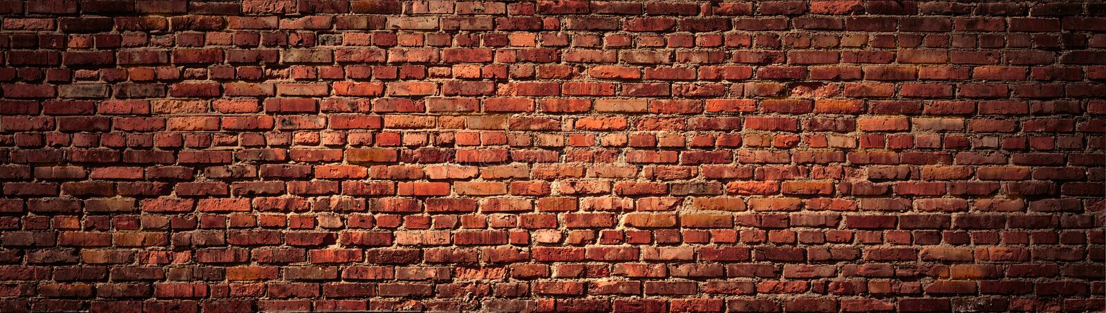 Old Red Brick wall panoramic view. royalty free stock image