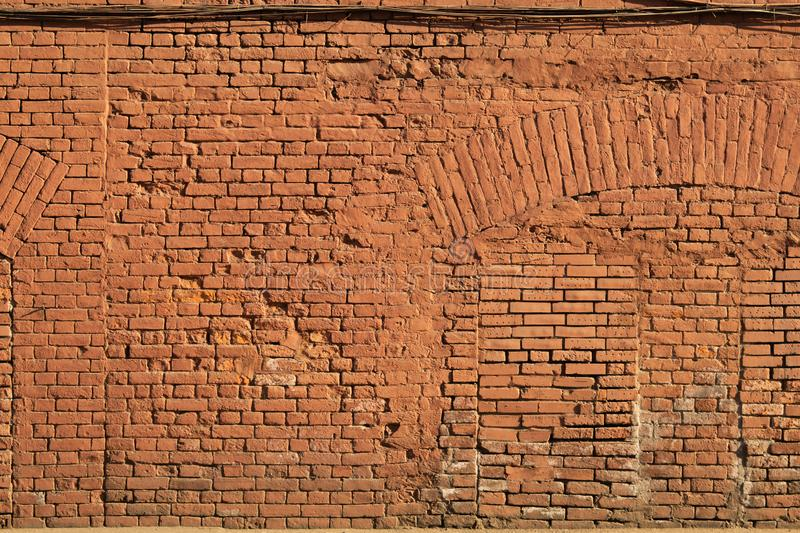 Old red brick wall texture backdrop. stone background stock image